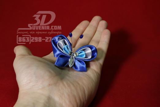 """Резиночка для волос """"бабочка"""", синяя"""