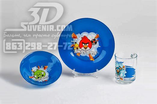 """Набор стеклянной посуды """"Angry Birds - Синий 3dsuvenir.com"""