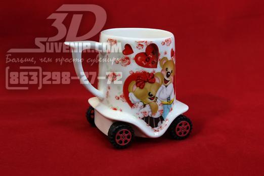 Кружка фарфоровая на колесиках - мишки