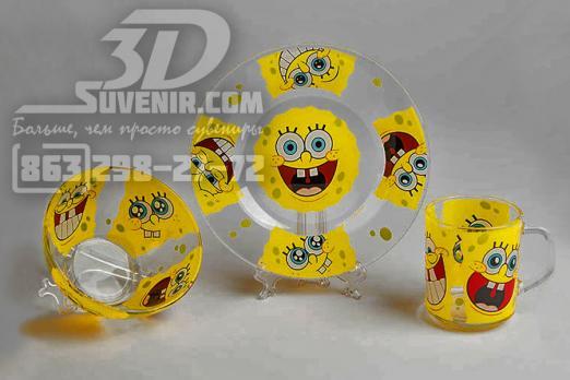 "Набор посуды ""Губка Боб — улыбки"" три предмета"