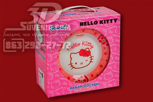 """Набор стеклянной посуды """"Хелло, Китти"""" в подарочной упаковке. Фото упаковки"""