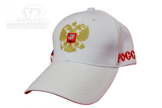 Бейсболка белая с российским гербом_3dsuvenir.com