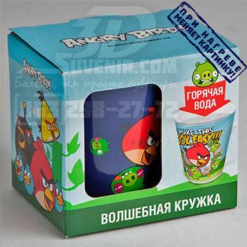 """Кружка керамическая термореагирующая """"Angry Birds"""" в подарочной упаковке. Фото упаковки"""