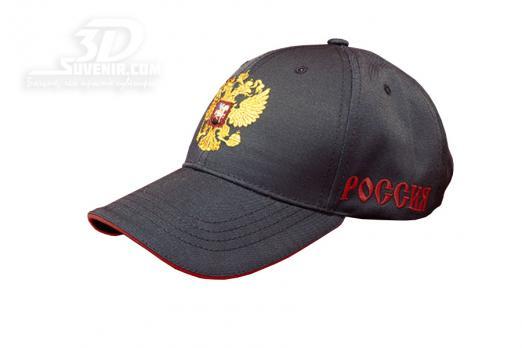 Бейсболка черная с российским гербом_3dsuvenir.com
