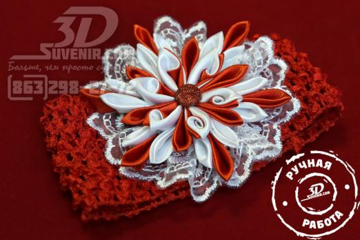 Повязка на голову красная с красно-белым цветком