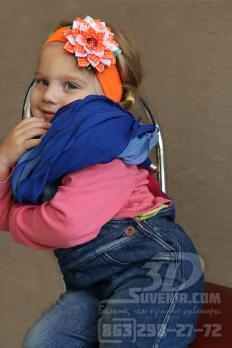 Повязка на голову оранжевая с бело-оранжевым цветком