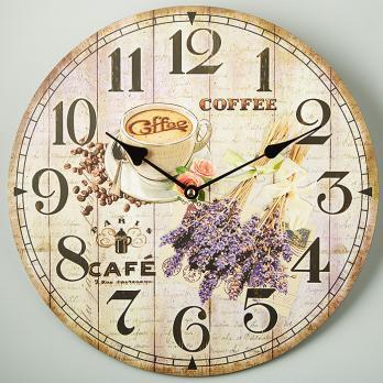 Настенные часы Лаванда и кофе круглые прованс