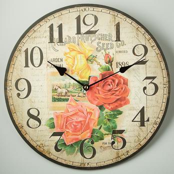 Часы настенные Розы желтые и красные прованс круглые