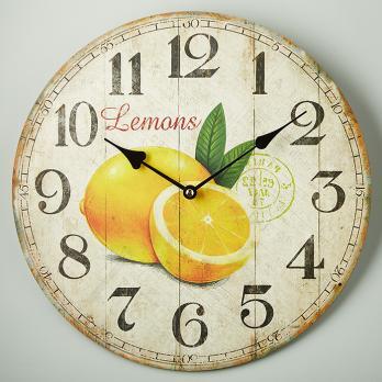 Часы настенные дерево лимон прованс круглые