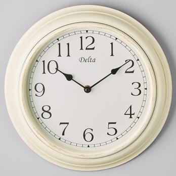 Часы настенные 30 см DT5-0008 круглые белые за стеклом